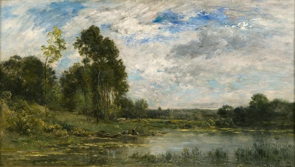 Charles Daubigny - Spalatoare pe malul lacului(1874)