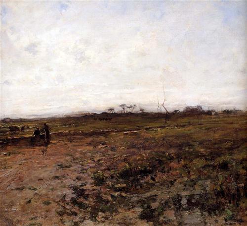 Jean-Francois Millet - Peisaj cu doi tarani