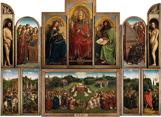 Jan van Eyck - Altarul Mielului mistic (deschis)