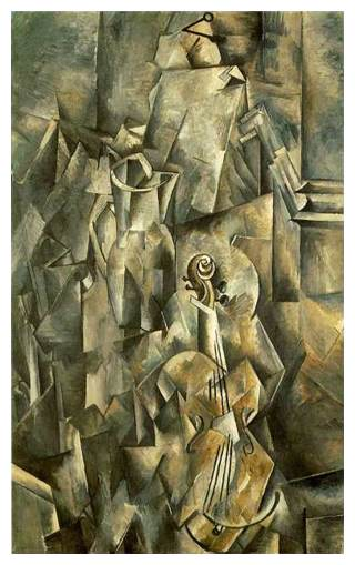 Faza analitica - Vioara cu vas, 1910,Braque
